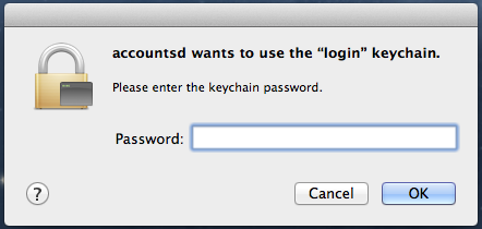 accountsd wants to use the login keychain